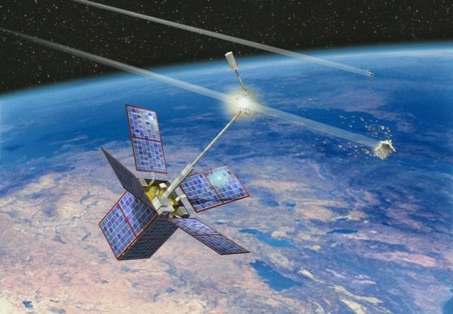L'antenne du satellite Cerise coupée par un débris spatial en 1996. Crédit : CNES/ill. D. DUCROS, 1998.